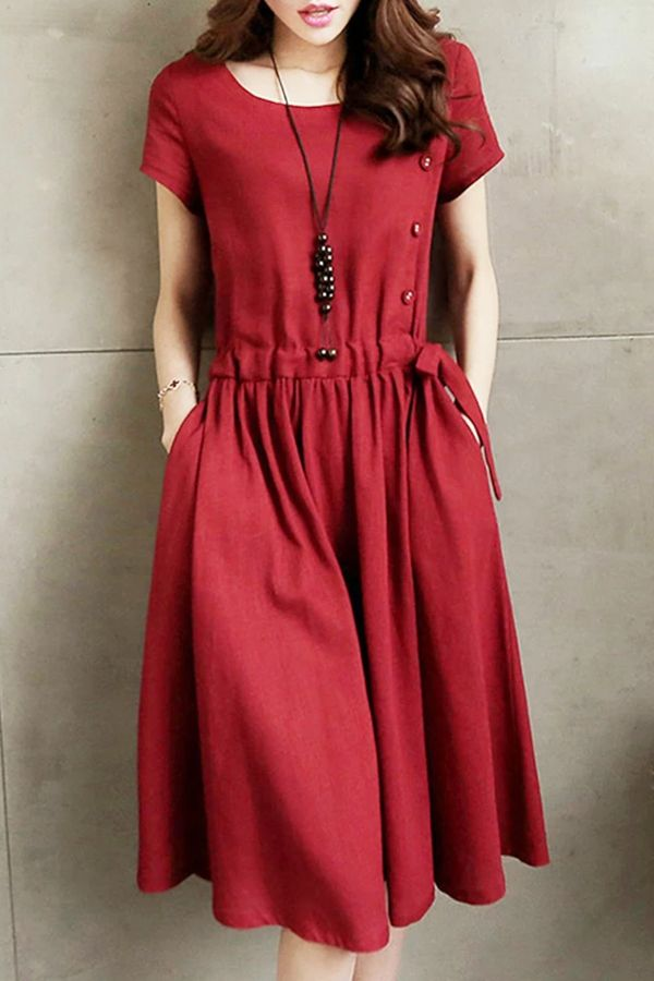 Burgundy Short Sleeve Solid A-line Casual Dress -   18 casual dress Patterns ideas