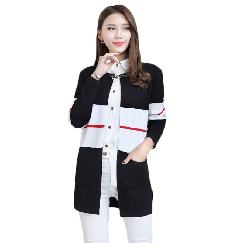 Women Elegant Autumn Patchwork Cardigan Fashion Brief Knitted Pockets Cardigans Sweaters Rebecas Mujer women winter clothes. Click visit to buy #WomenCardigan