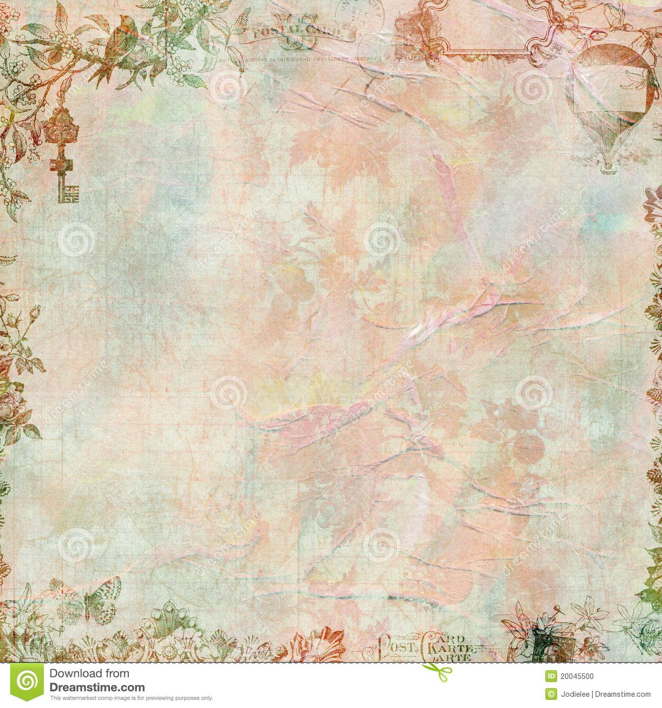 Pastel Grungy Vintage Floral Scrapbook Frame Download From Over 26