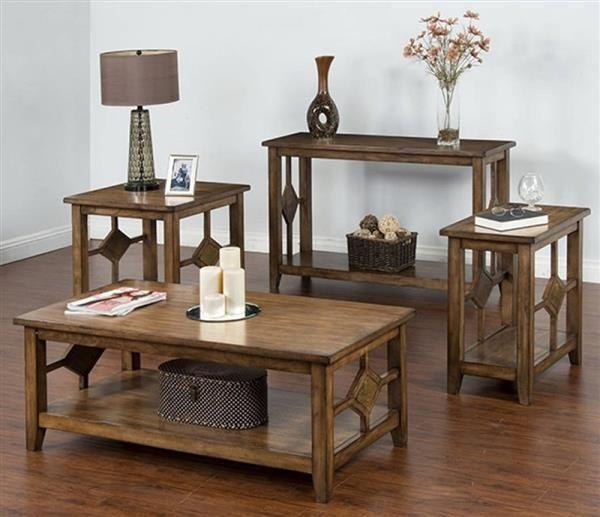 Coventry Burnish Mocha Wood Coffee Table Set Coffee Table