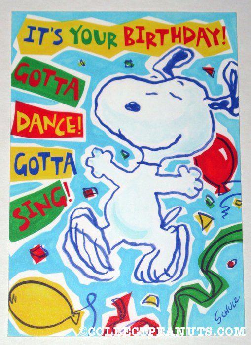 Snoopy Dancing Birthday Greeting Card Snoopy Birthday Peanuts Birthday Happy Birthday Funny