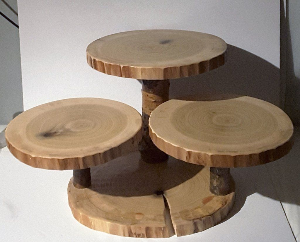 Large Rustic Cupcake Stand Wood Slice Cake Stand Rustic Wedding