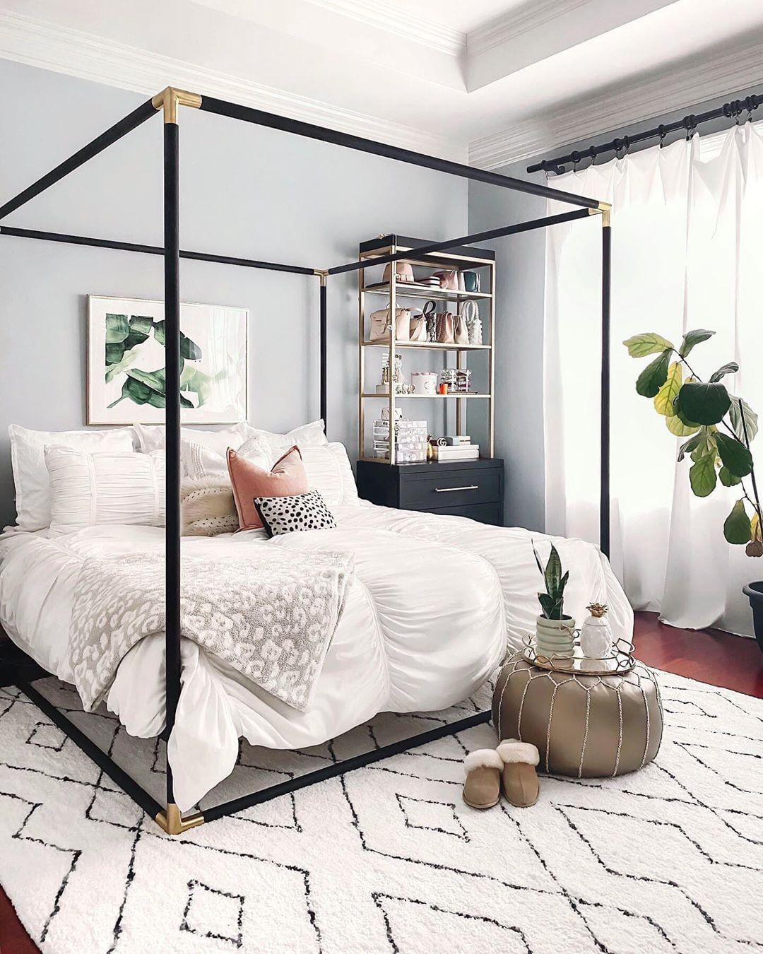 Dreamy canopy bedroom by @krystal.faircloth. Canopy beds have been trending for decades, and it seems they will always be in style. Click the image to try our free home design app.  (Keywords: bedroom ideas, bedroom decor, master bedroom ideas, boho bedroom, dream rooms, DIY home decor, small bedroom ideas, bedroom rug, aesthetic bedroom, bedroom wall art, apartment bedroom decor)
