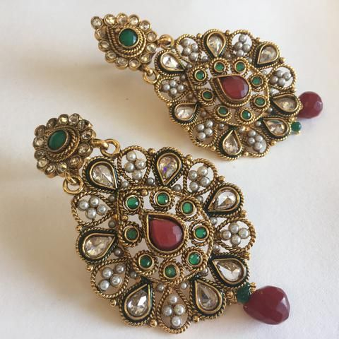 Antique 1 gm gold earrings 3 indian traditional and fashion antique 1 gm gold earrings 3 aloadofball Gallery