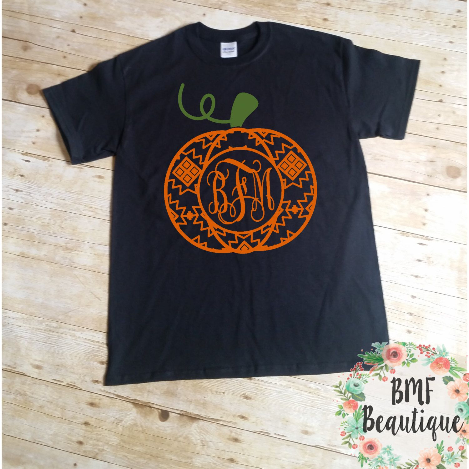 Fall Monogram Shirt, Pumpkin Monogram, Aztec Monogram