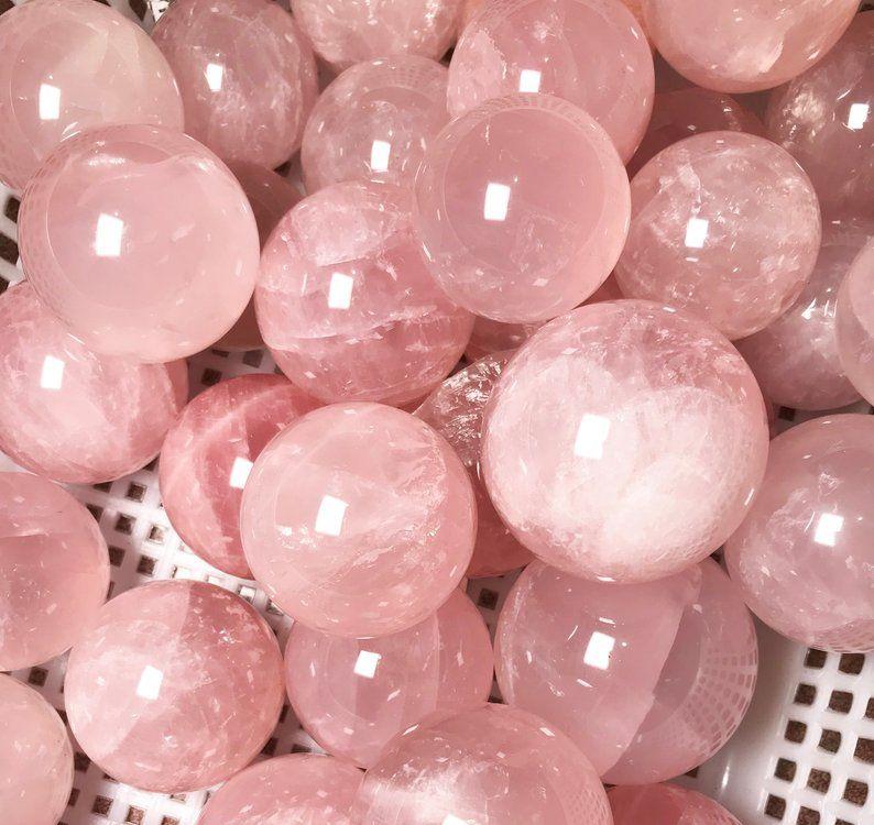 Clear Rose Quartz Sphere/Polished Crystal Ball/Nat
