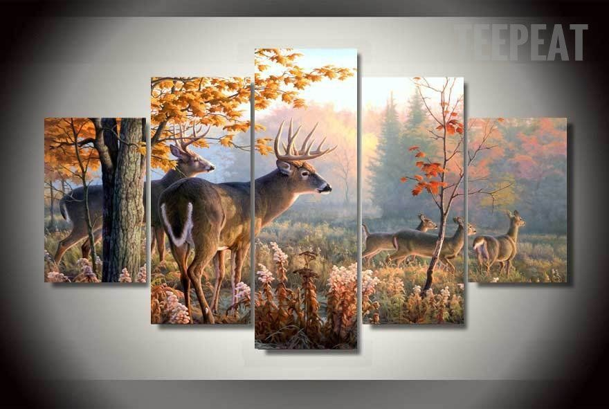 Five Piece Canvas Wall Art deer painting - 5 piece canvas | walls