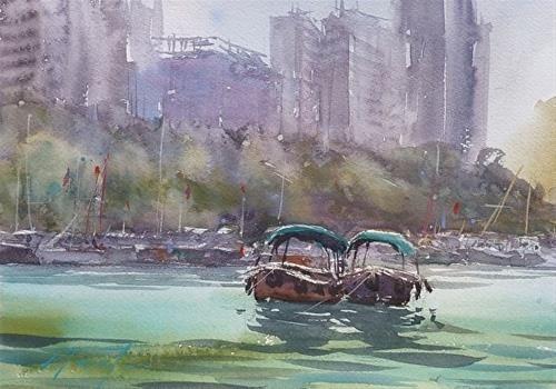 """Aberdeen I, Hong Kong Landscape Painting"" - Original Fine Art for Sale - © Keiko Tanabe"