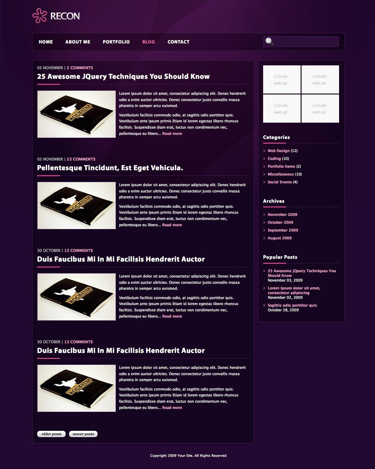 RECON Sleek Portfolio Template Portfolio templates