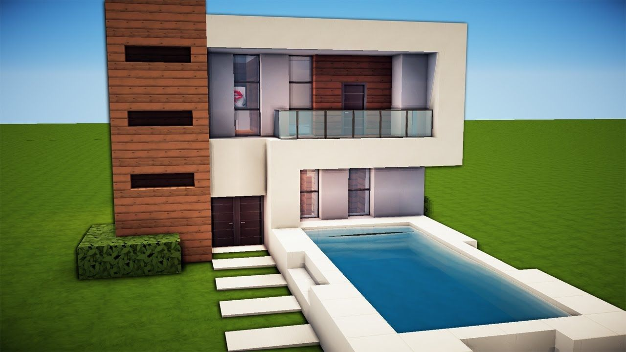 Minecraft Simple Easy Modern House Tutorial How To Build 19 Minecraft Small Modern House Modern Minecraft Houses Minecraft House Designs