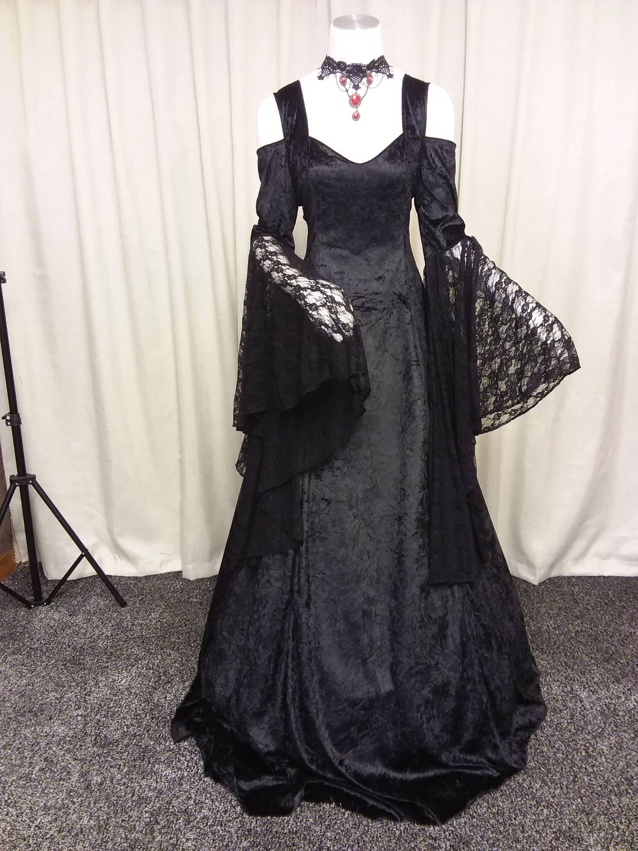 Gothic wedding dress, medieval dress, renaissance gown, black ...