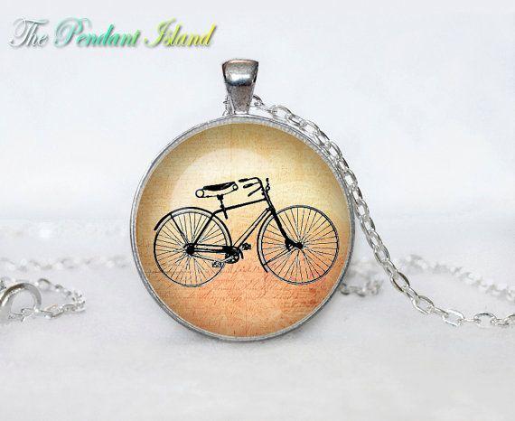 BICYCLE NECKLACE bicycle pendant bicycle jewelry Vintage Bicycle necklace glass pendant, bicycle jewelery, bicycle jewellery
