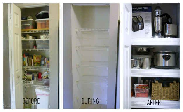 Cover up those cheap-looking wire shelves in a pantry or closet.