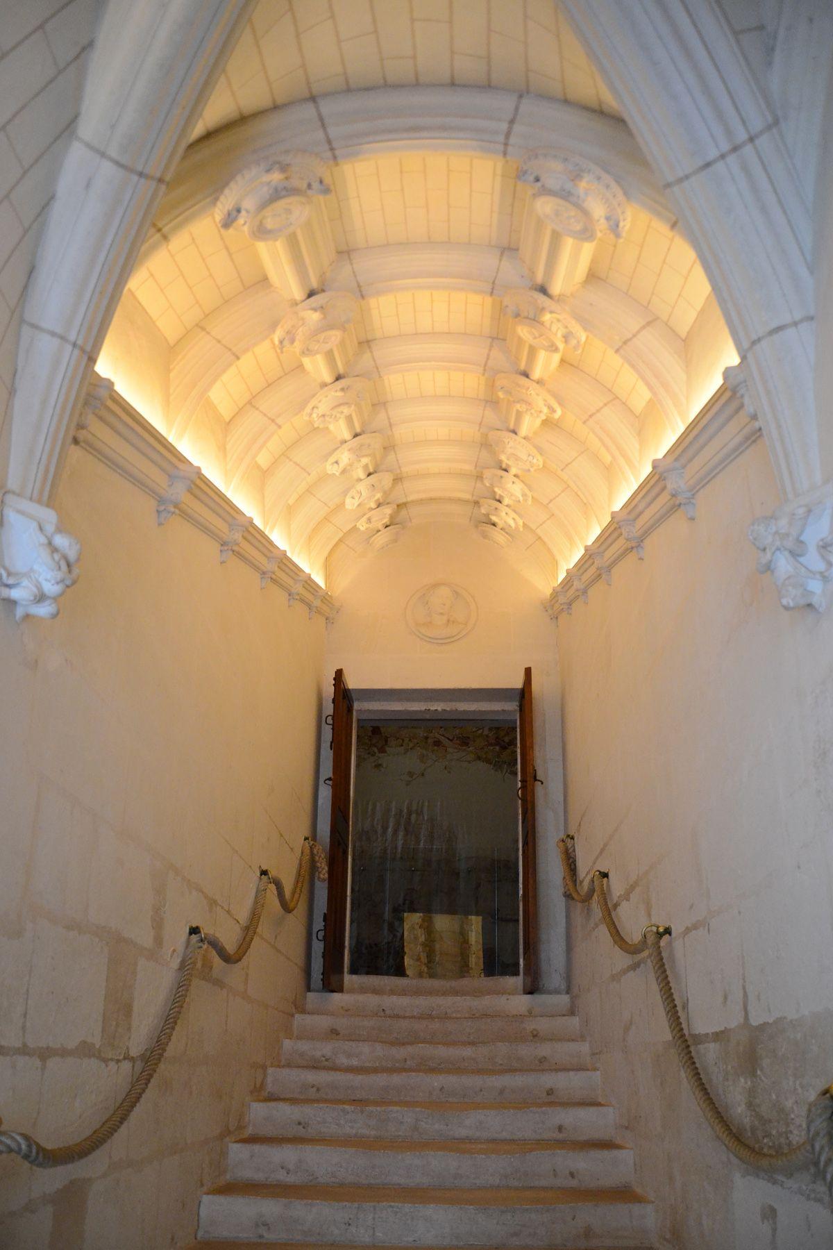 L escalier  rampe droite Ch¢teau de Chenonceau Indre et Loire