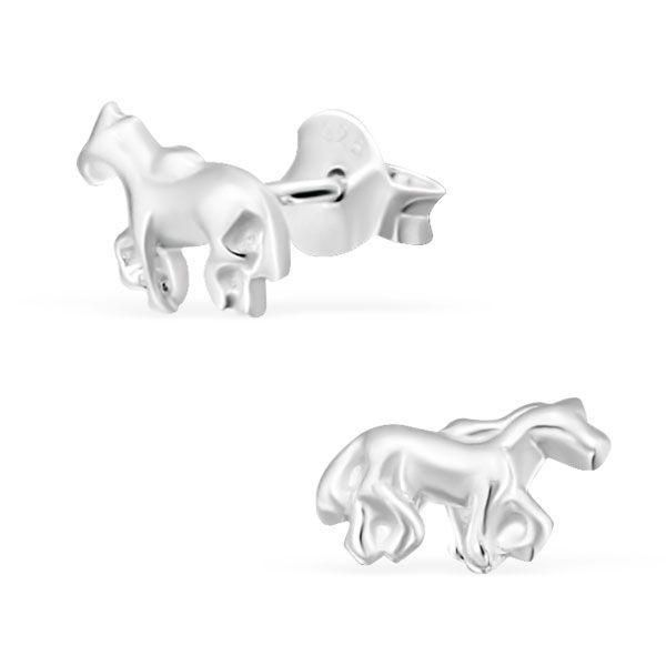 Small Horse Real Sterling Silver Stud Earrings Rings 925
