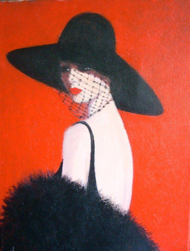 a simply elegant lady. Orignal acrylic painting on a ...