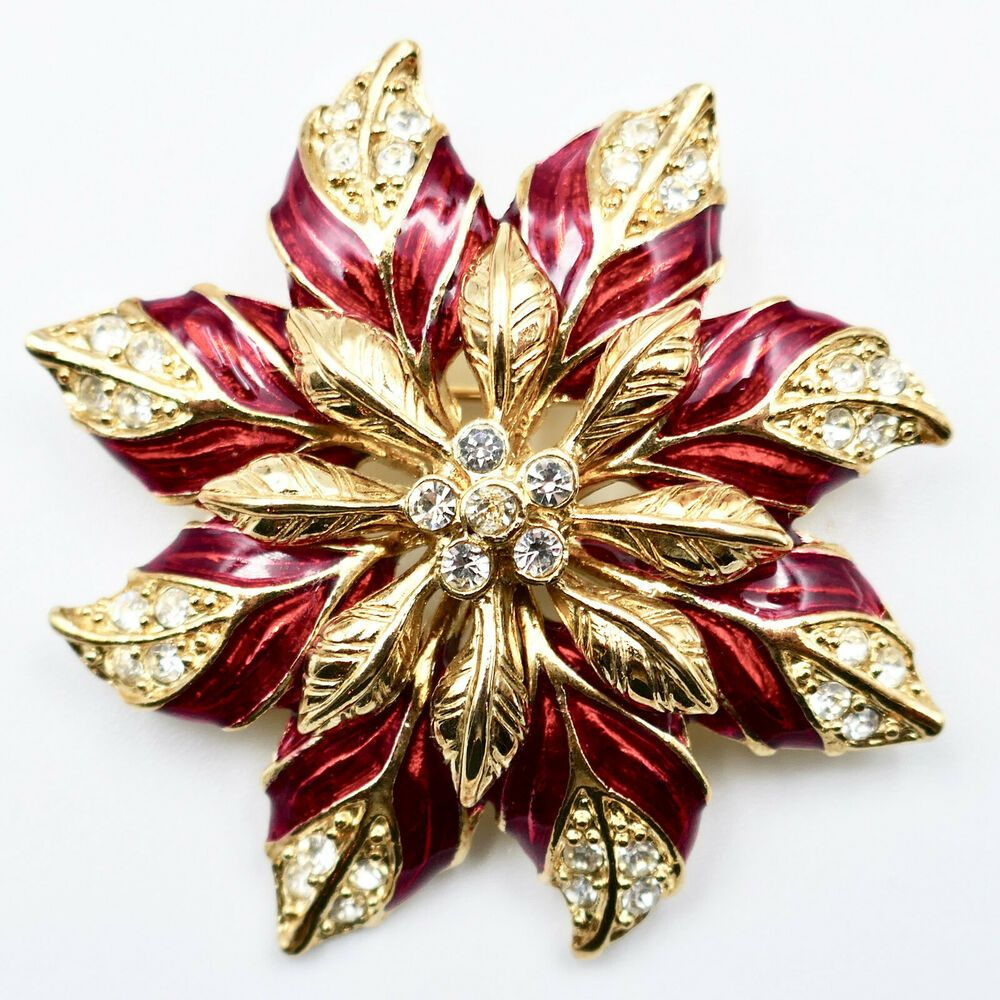 Poinsettia 3d Christmas Pin 2 Red Enamel Clear Rhinestones Floral Gold Vintage Ebay In 2020 Christmas Pins Christmas Collectibles Clear Rhinestones