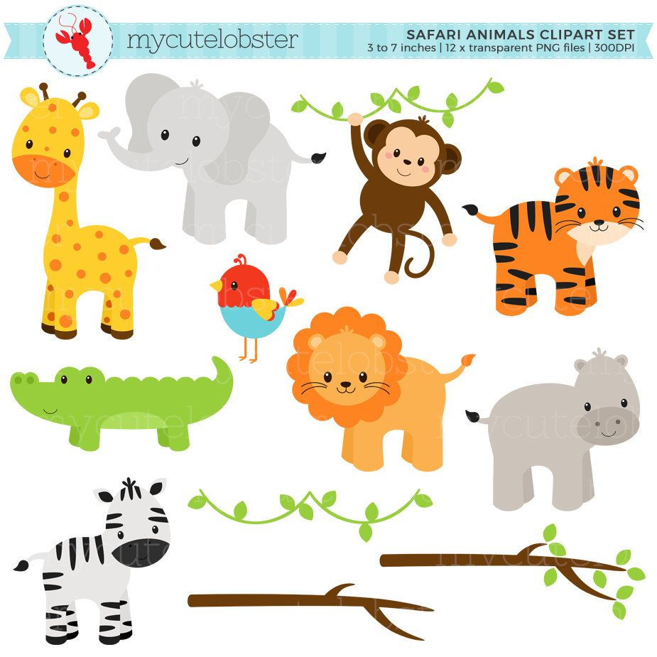 Safari Animals Clipart Set Clip Art Set Of Giraffe Tiger Monkey Hippo Crocodile Personal Use Small Commercial Use Instant Download Animal Clipart Safari Animals Clip Art