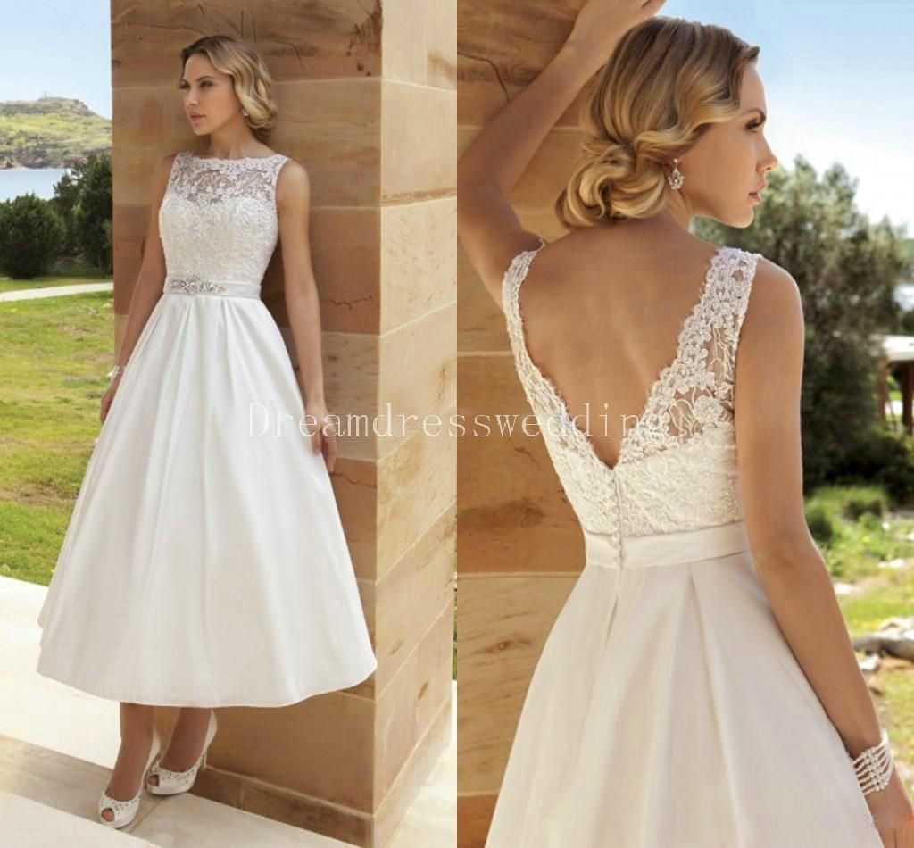 2016 custom made wedding dresses sexy tea length under 100 v neck 2016 custom made wedding dresses sexy tea length under 100 v neck wedding lace bridal gowns zipper back wedding gowns ombrellifo Image collections