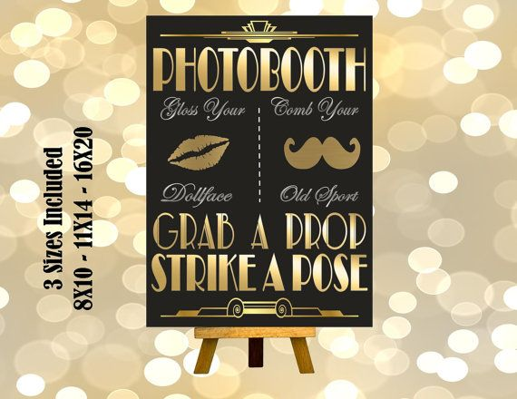 PRINTABLE Photobooth sign*Gatsby party decoration*Roaring 20s Art deco*Wedding photobooth sign*Grab a prop and Strike a pose