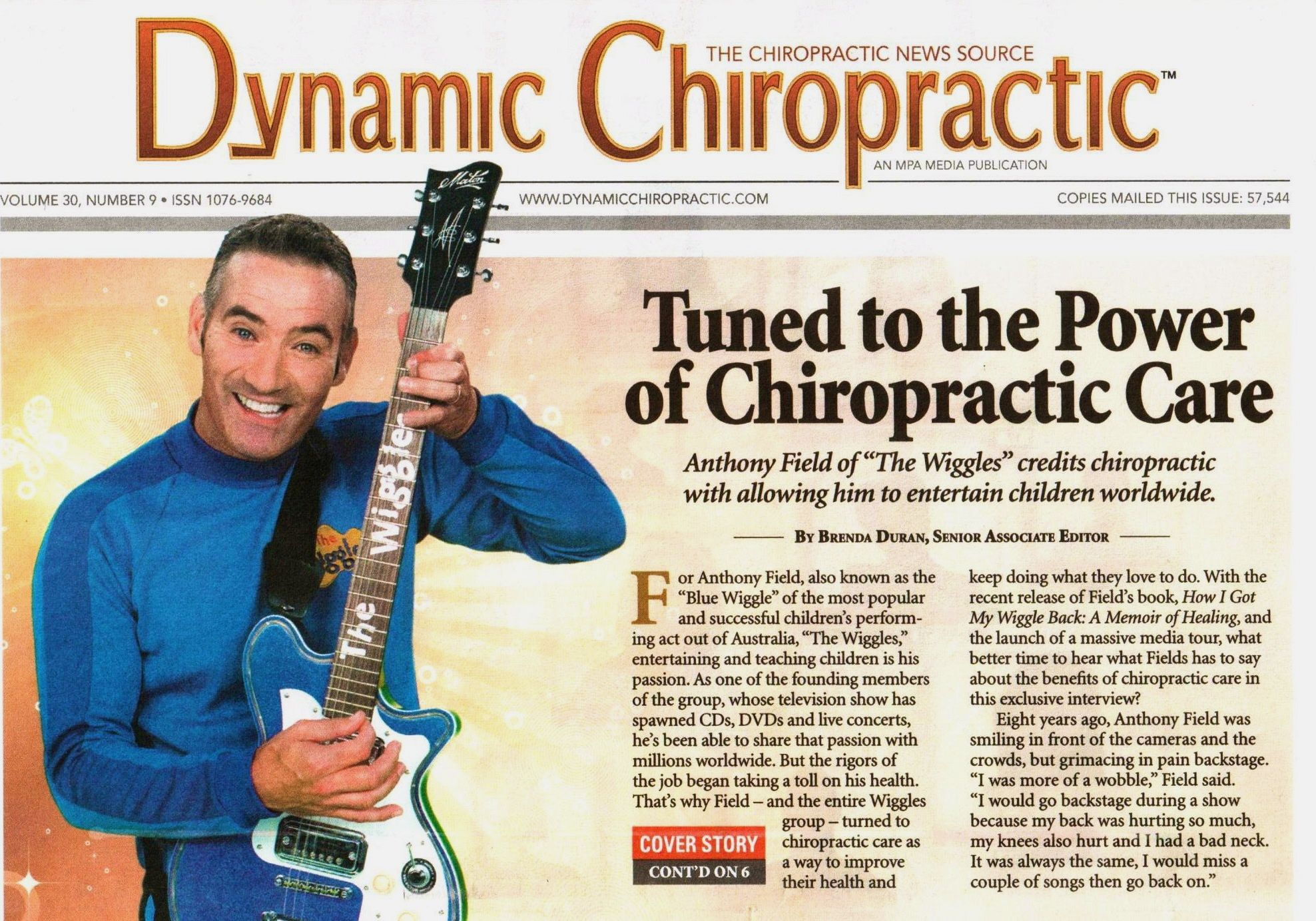 """Anthony Field of """"The Wiggles"""" credits chiropractic with getting his wiggle back."""