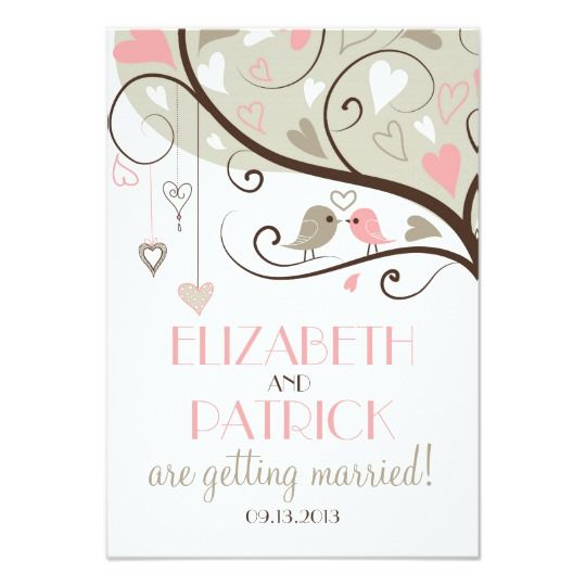 Pink and Gray Lovebirds Wedding Reception Card | Zazzle.com
