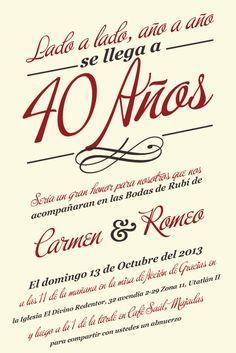 Bodas De Ruby Diseño De Invitación 35 Aniversario De Boda