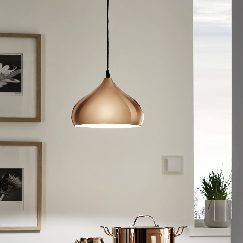 eglo hapton polished copper pendant light kitchen lighting from dusk lighting uk - Kitchen Lights Uk