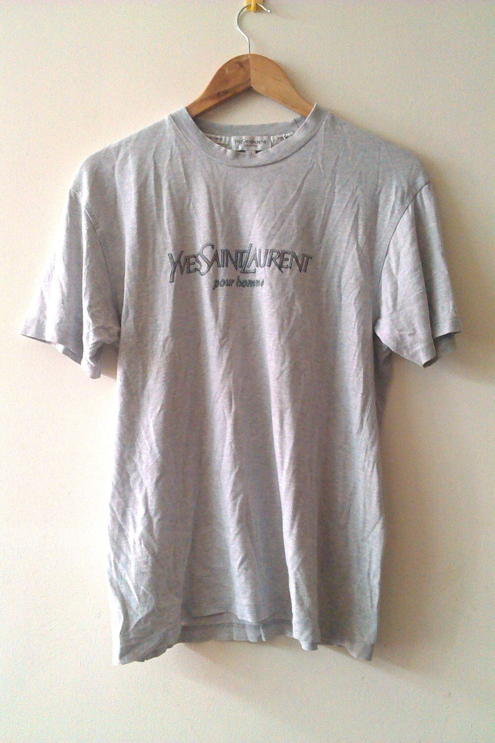 670b549e Rare Vintage Yves Saint Laurent Pour Homme T shirt Grey shirt Hip Hop Swag  High Fashion