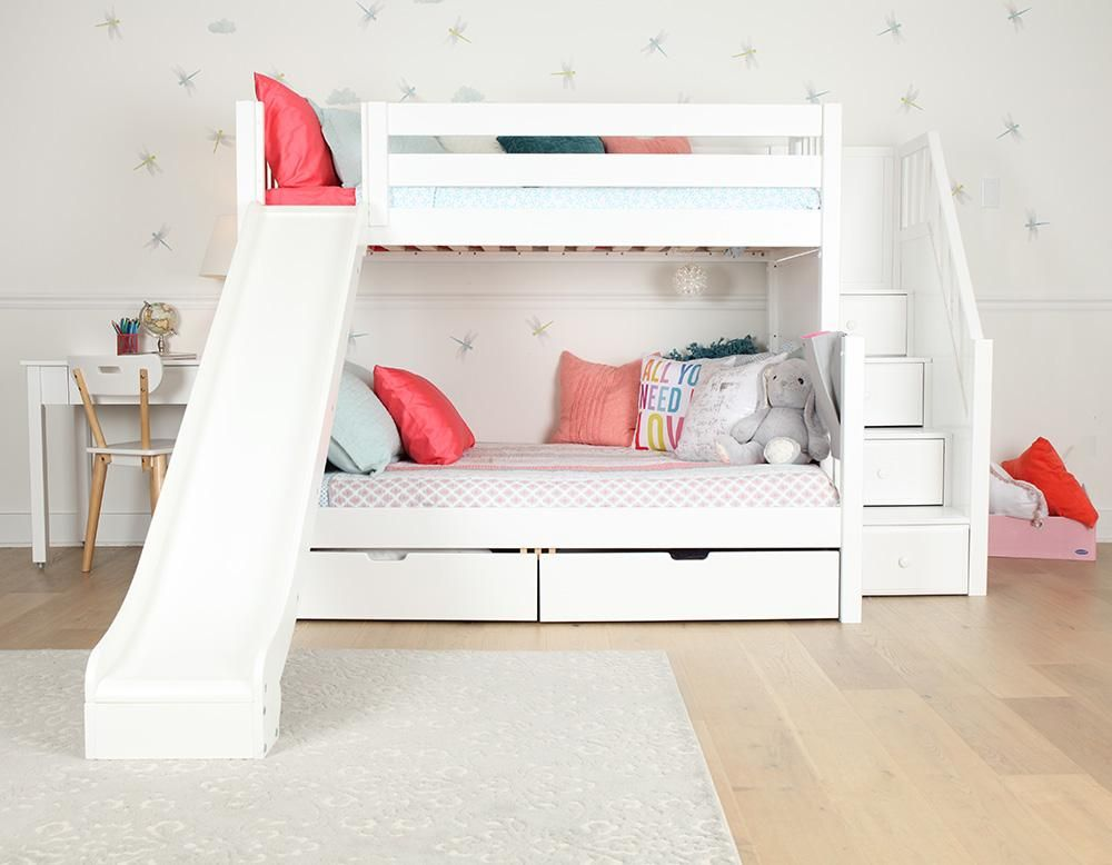 Girls Room Starring Best Twin Over Full Bunk Beds With Stairs And Slid In 2020 Bunk Bed With Slide Cool Bunk Beds Bunk Bed Rooms