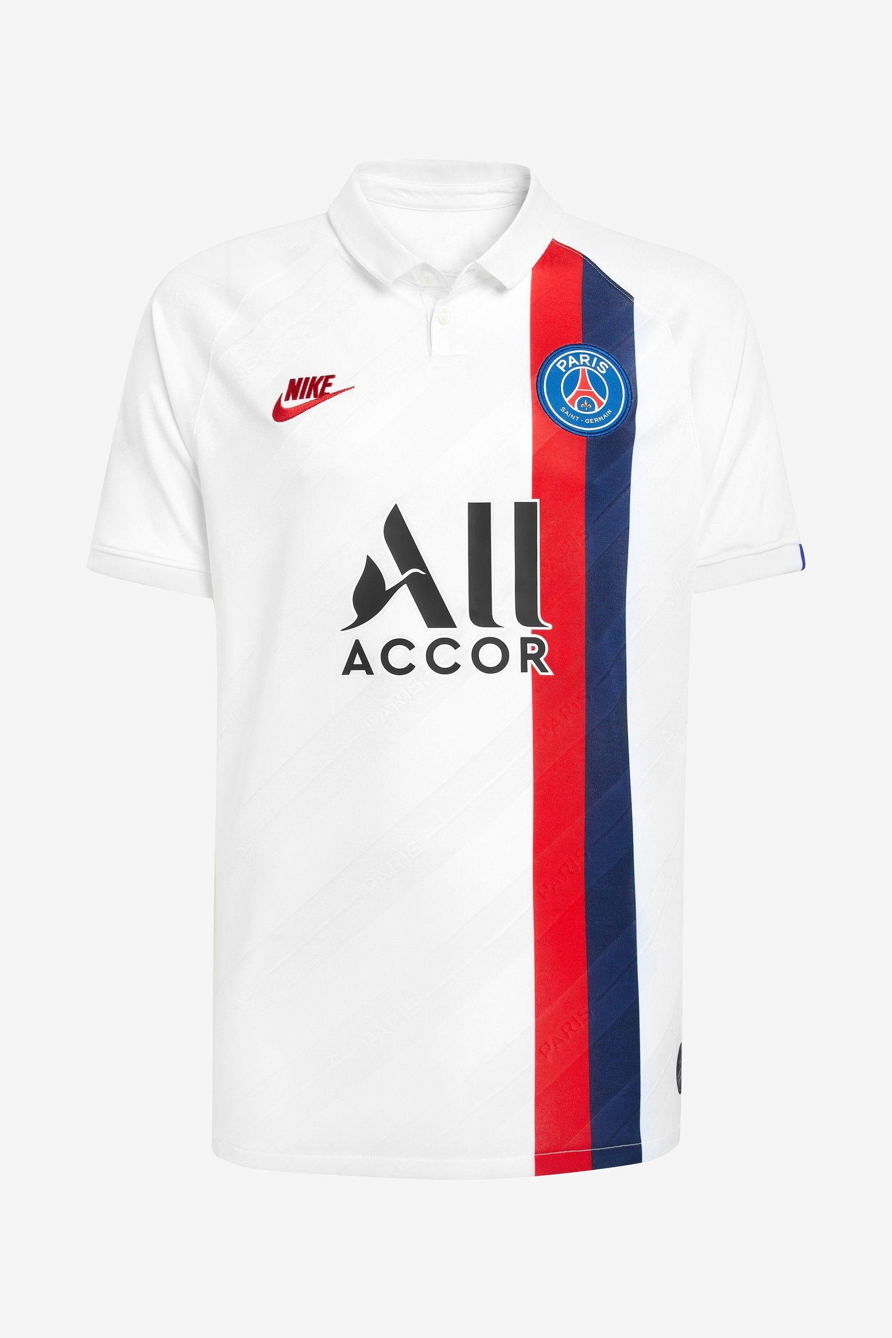 Nike White PSG 2019/20 Jersey Top imagens) Camisas