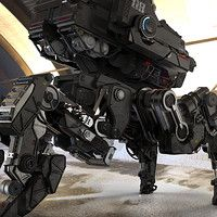 Some kinda mech I created based on my own concept drawing. I used 3dsmax and Zbrush for the modeling.
