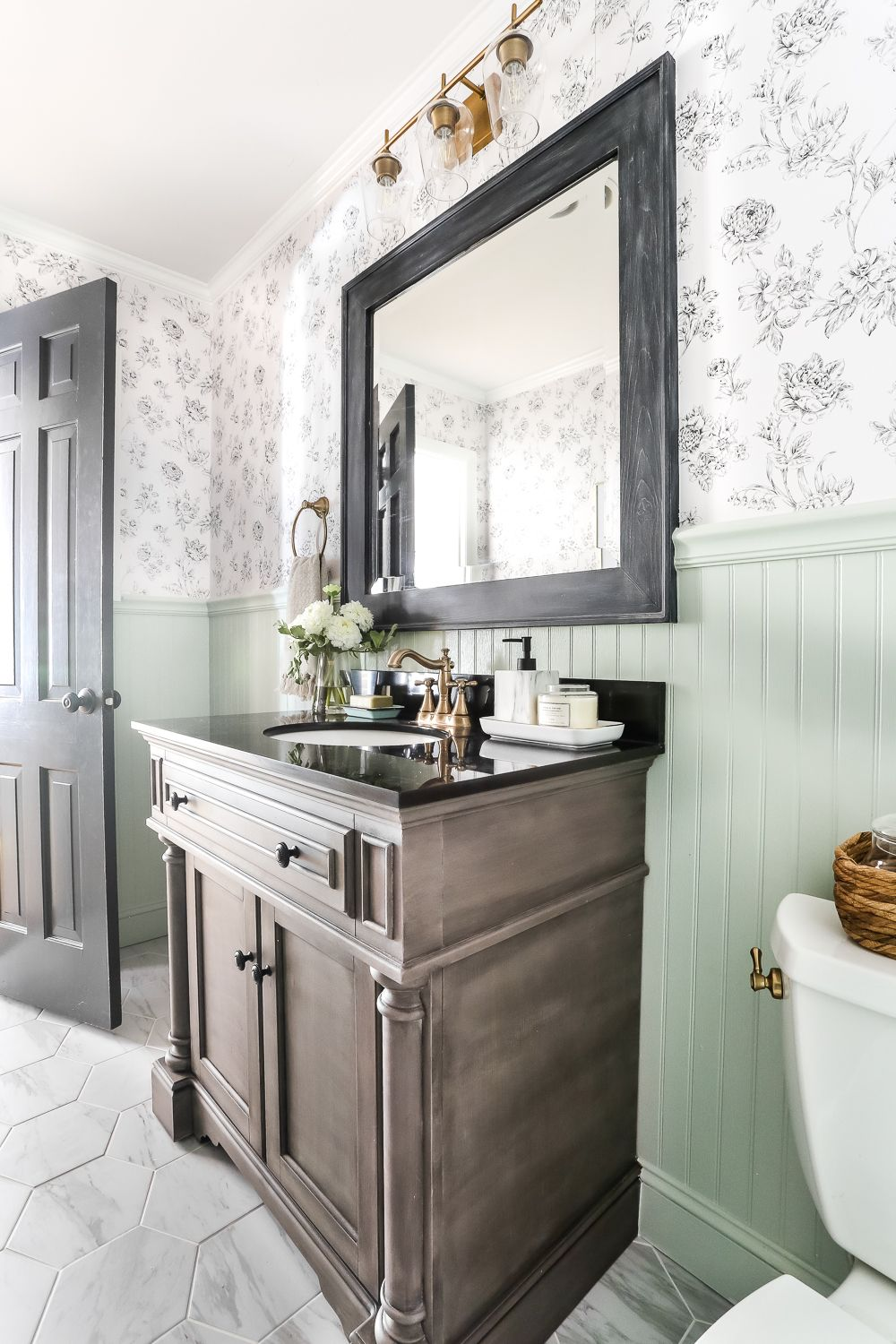 Aqua Meets Urban Powder Room Reveal Bathroom wallpaper