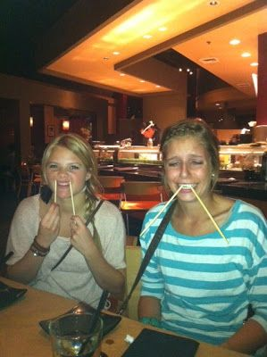 Flashback photo of Witney Carson and her cousin, Ally, doing their best walrus impressions with chopsticks.