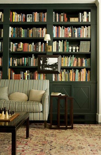 Awesome I Love The Green Of The Bookshelves And The Couch Being Download Free Architecture Designs Jebrpmadebymaigaardcom