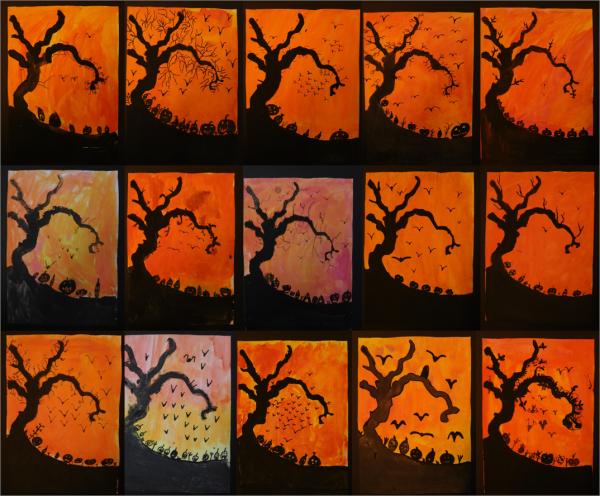 Halloweenbilder Kunststunden Kunstideen Kunst
