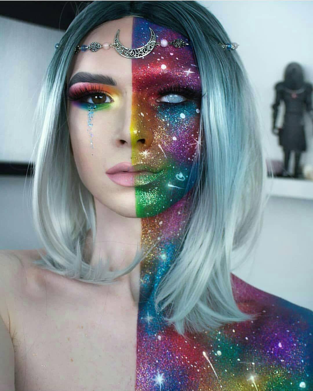 Rainbow Galaxy Space Halloween Costume Party Make Up Creative Makeup Looks Fantasy Makeup Artistry Makeup