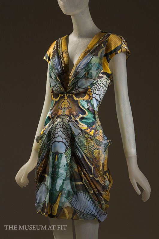 Alexander McQueen, dress in silk satin and chiffon with photo digital print, spring 2010, England, museum purchase.  Collection MFIT