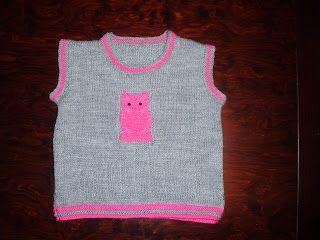f3830bf5978 Victoria - Handmade Creations: Πλεκτό παιδικό αμάνικο πουλόβερ με σχέδιο  κουκουβά.