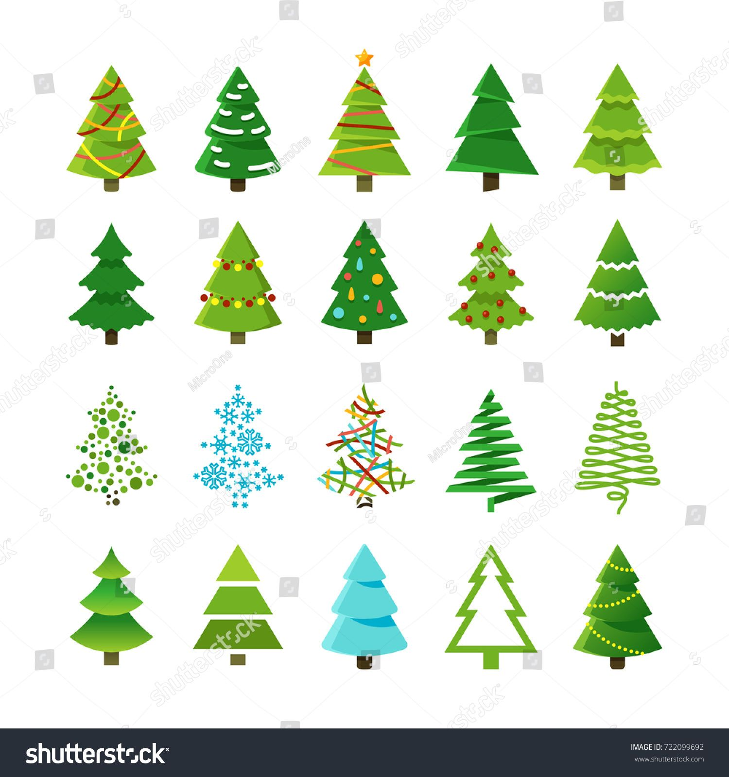 Cartoon Abstract Christmas Trees With Gifts And Balls Vector Set Green Christmas Tree Coll Christmas Tree Art Cartoon Christmas Tree Christmas Tree With Gifts