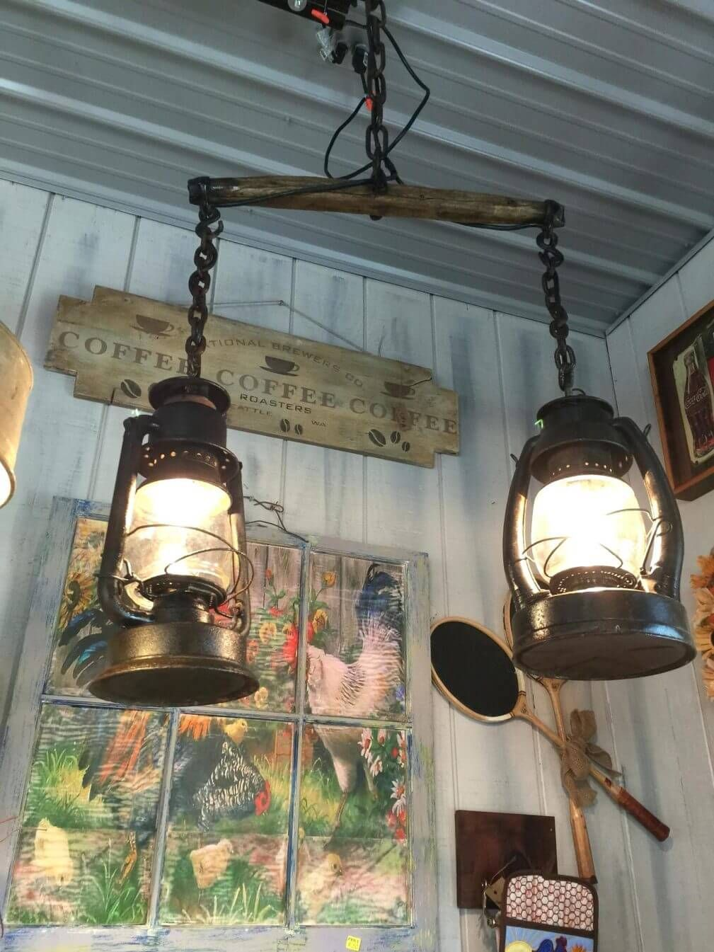 Suspended Track Lighting With Old Fashioned Lamps