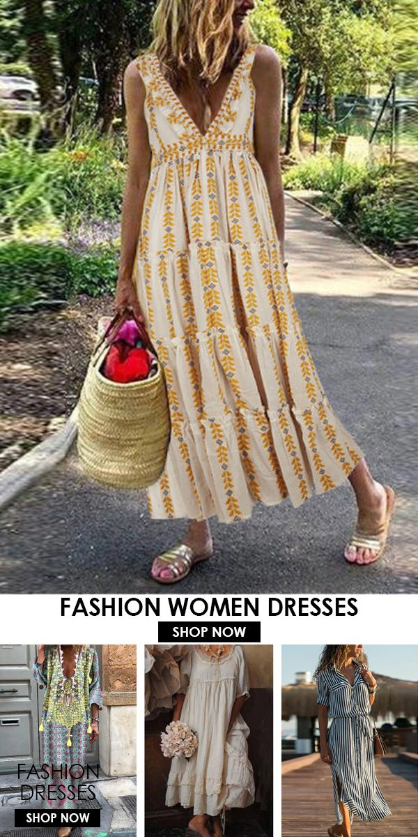 Bohemian Printed V Neck Sleeveless Maxi Dress