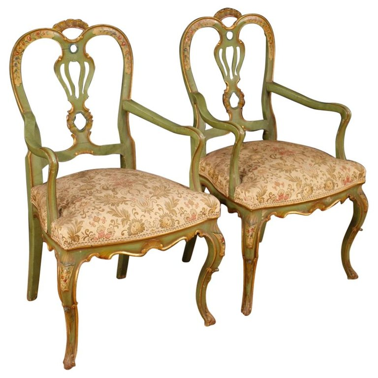 Pair of lacquered and painted Venetian consoles