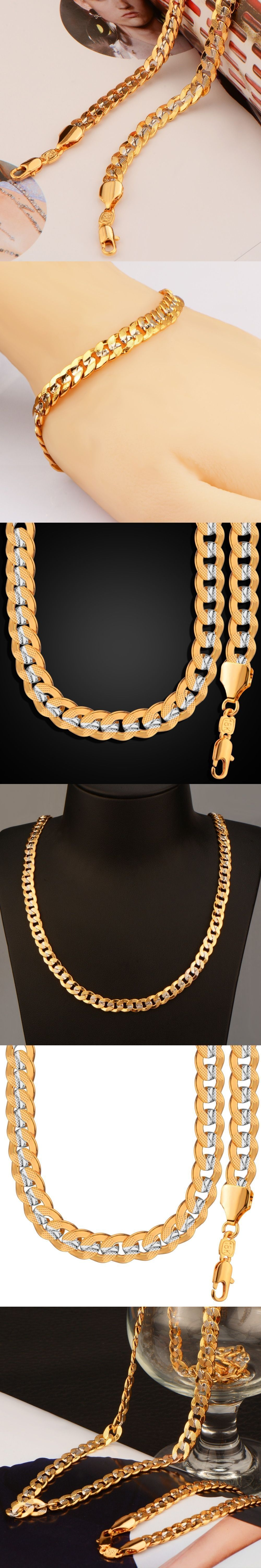 New fashion two tone gold color necklace set party jewelry wholesale