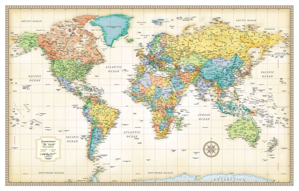 32x50 Rand McNally Style Classic World Wall Map Mural Poster Wall