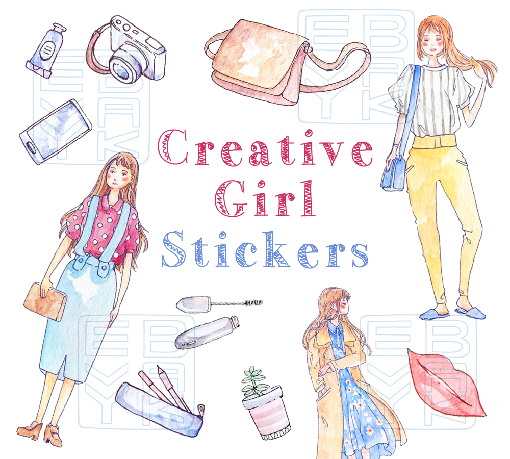 Creative Girl Stickers Printable - Daily Fashion Watercolor Drawing ... for Cute Korean Printable Stickers  66pct