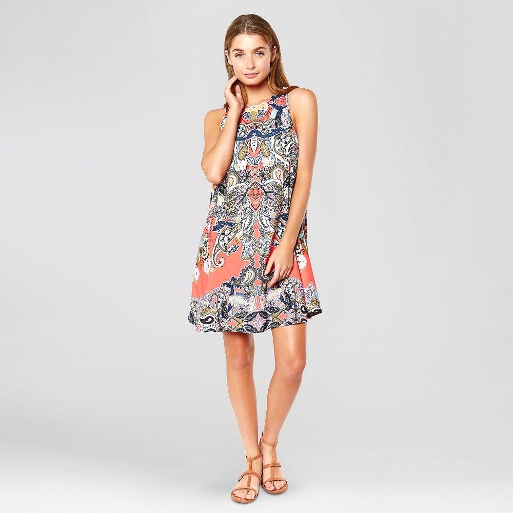 Women's Printed High Neck Open Back Dress Orange M - Made by Minkpink (Juniors'), Size: Medium