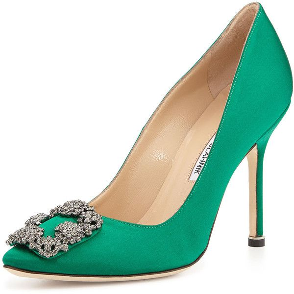 Manolo Blahnik Hangisi Satin Crystal-Toe Pump (69,075 INR) ❤ liked on Polyvore featuring shoes, pumps, heels, zapatos, green, manolo blahnik shoes, pointed toe pumps, buckle shoes, green heeled shoes and pointed toe high heel pumps
