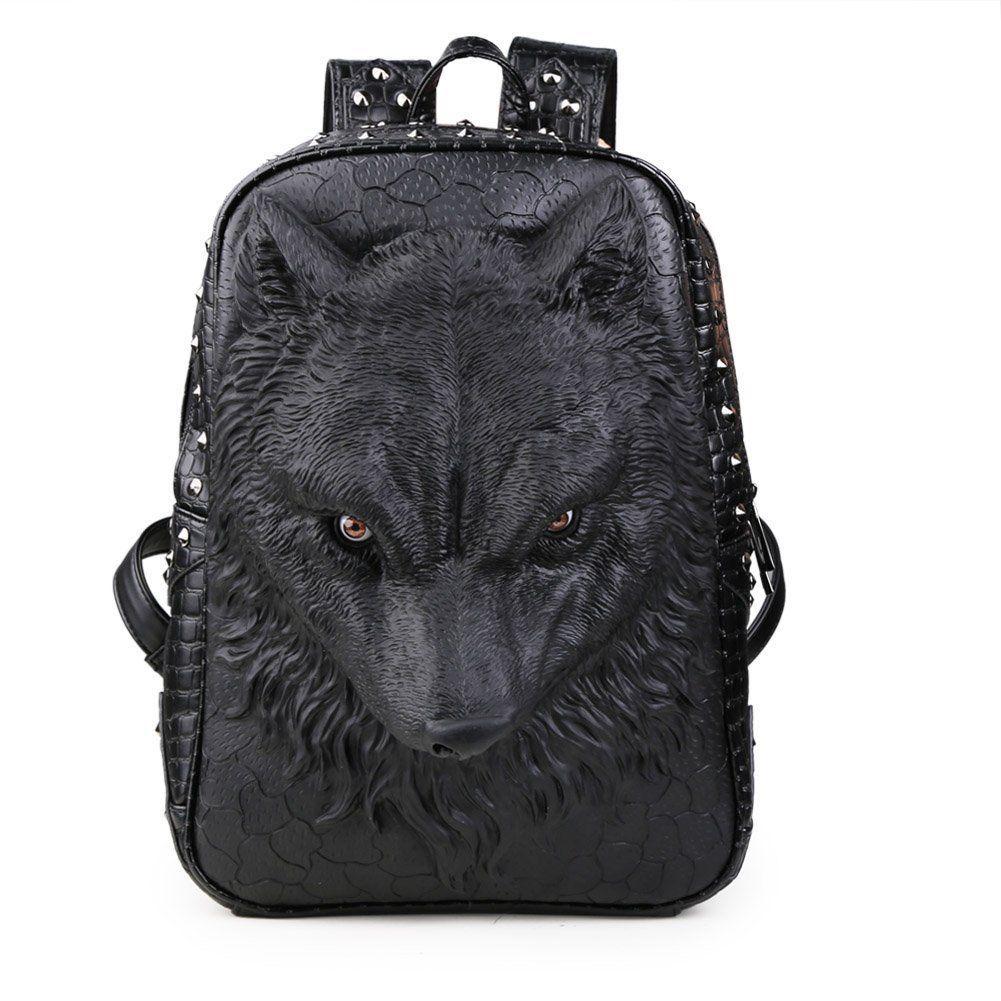 ebd8ce4ebc4e 3D Wolf Animal Pu Leather School Backpack Shoulder Bag Fit 14 ...