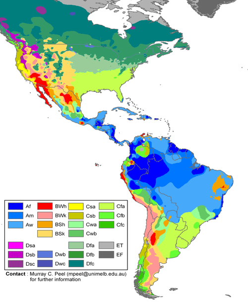 Climate Zone Map Of Asia.Climate Zones Of The Americas In The Koppen Climate Classification